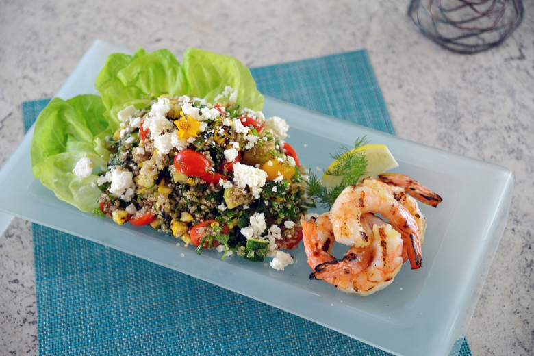 photo of a quinoa salad with shrimp