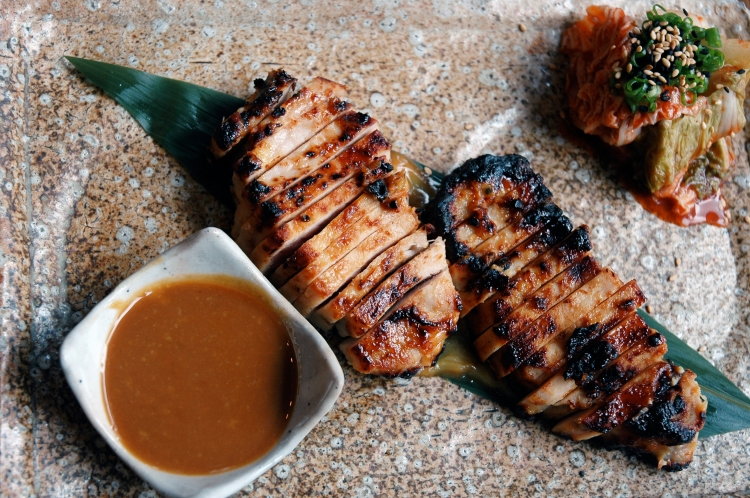 pork loin complimented by miso-wasabi sauce & kimchi