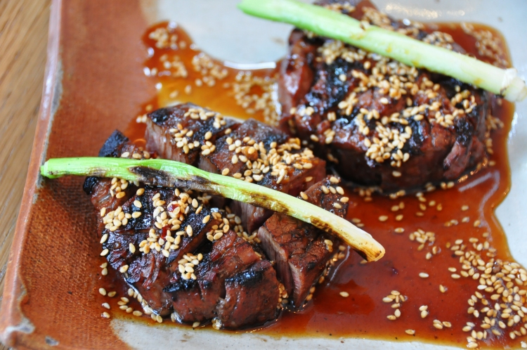 spicy beef tenderloin with sesame, red chili and sweet soy
