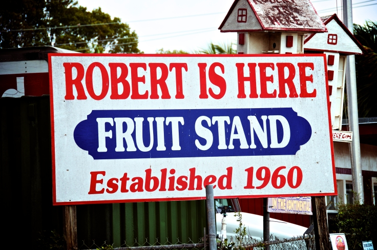"""Street sign for """"Robert is Here"""""""