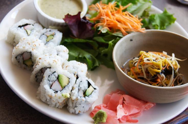 Salad and California Rolls