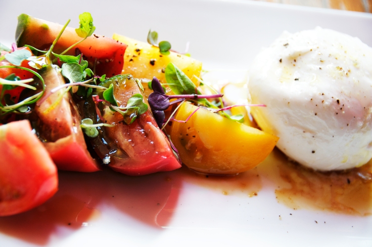 Local mozzarella burrata, heirloom tomatoes, balsamic fig vinaigrette