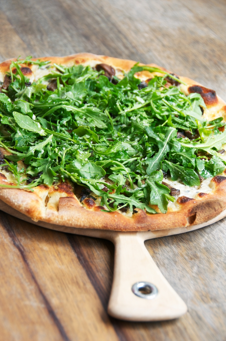 The Porcini Pizza with arugula