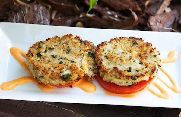 Caribbean Pan Roasted Crab Cakes – Lump Blue Crab, heirloom tomato, roasted red pepper aioli