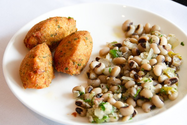 Codfish Croquettes with Black-Eye Bean Salad