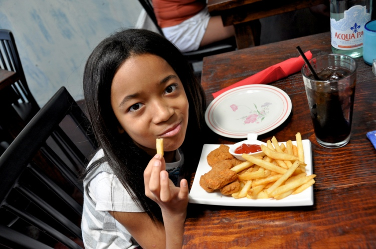 The little one loves chicken nuggets and fries. All the time...
