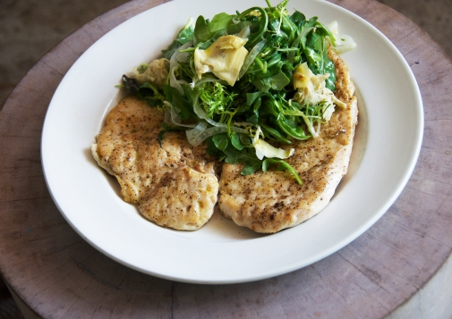 Chicken Paillard with Arugula & Artichoke Salad