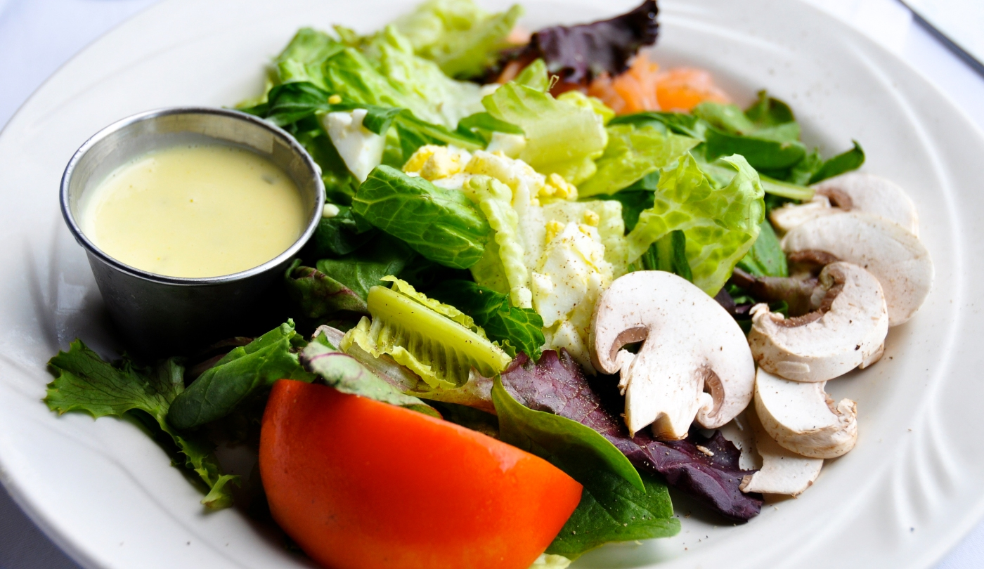 simple salad with mustardy dressing