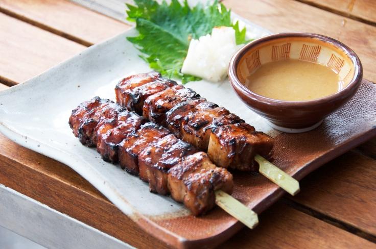 Buta-Bara Yuzu Miso were kurobuta pork belly skewers with yuzu mustard miso