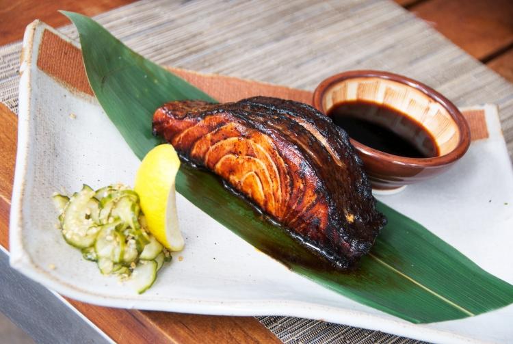 Salmon Teriyaki with pickled cucumber