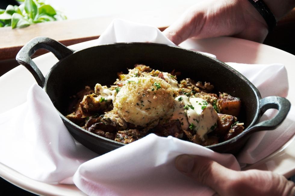 Porchetta Hash, six minute egg and hollandaise