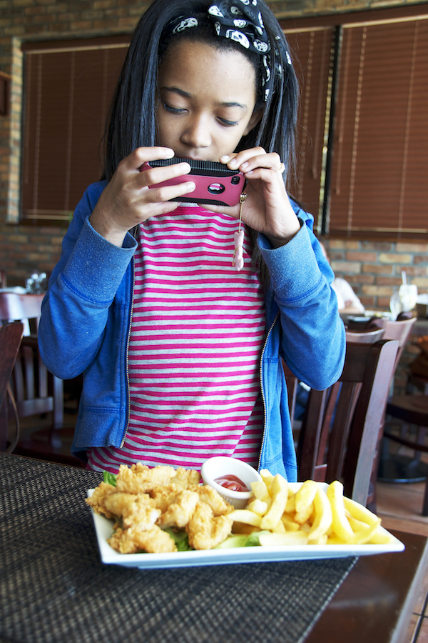 Taking a picture of the fish nuggets