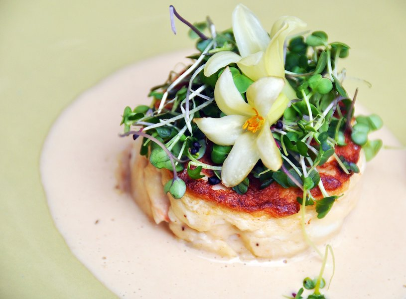 crab cake with flowers