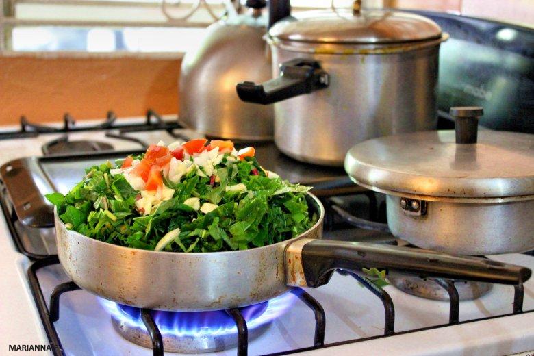 callaloo on the stove