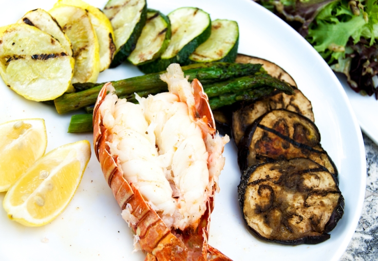 lobster tail with grilled veggies