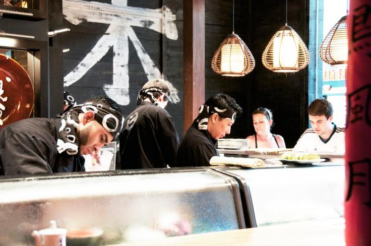 at the sushi bar