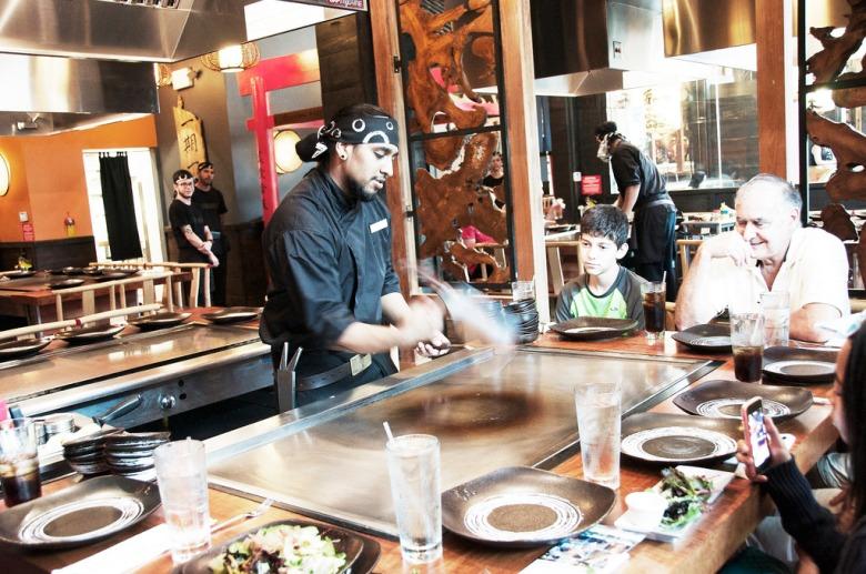 at the teppanyaki table