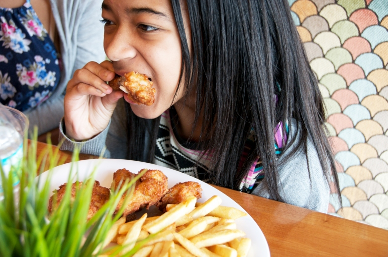 eating chicken wings