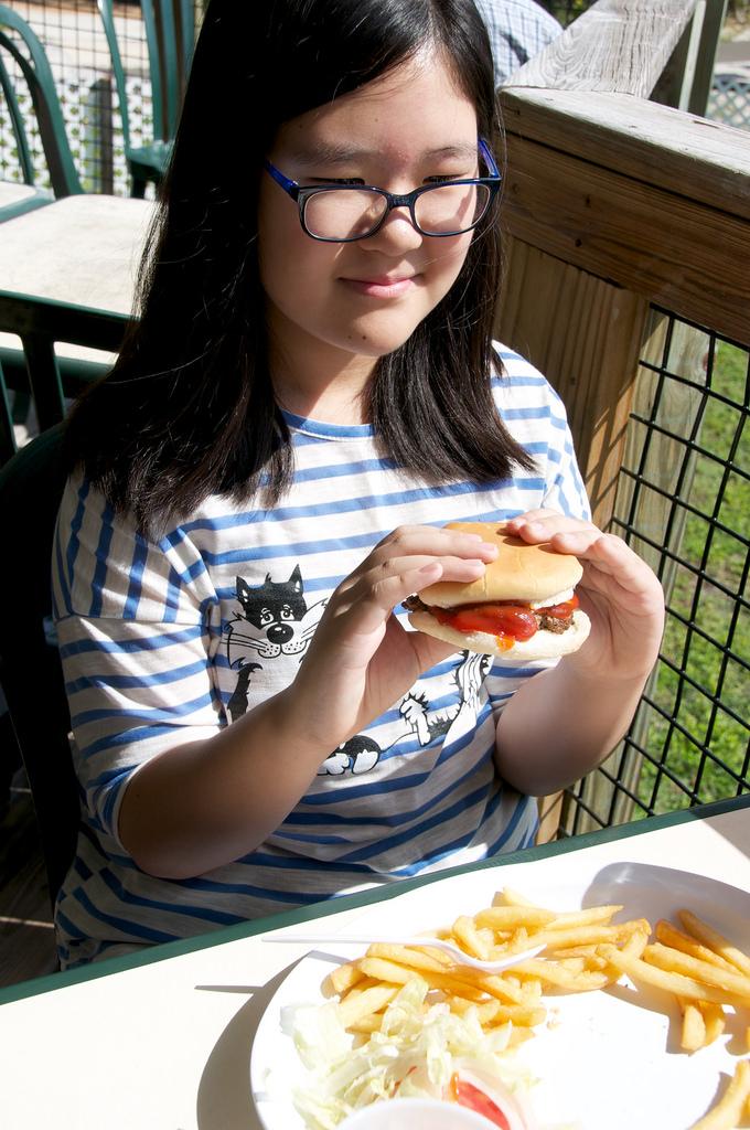 eating hambuger