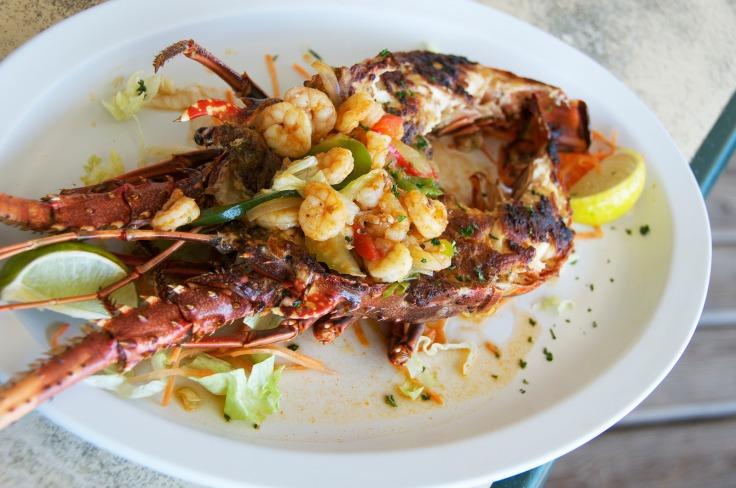 grilled florida lobster with shrimp sauce