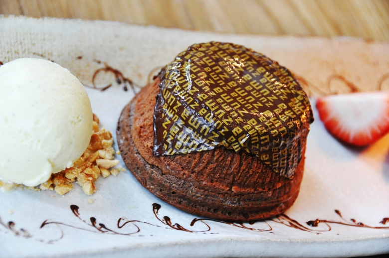 special chocolate cake with vanilla ice cream