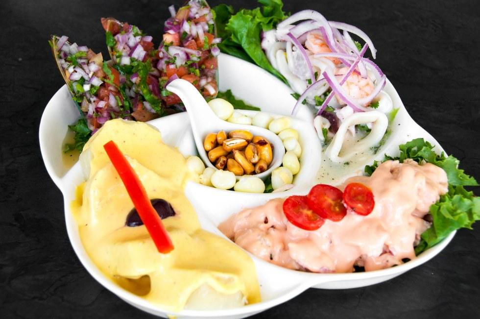 sample platter of peruvian dishes
