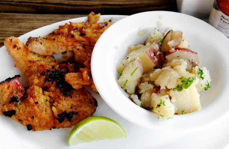 Grilled Conch with Parsley Potatoes