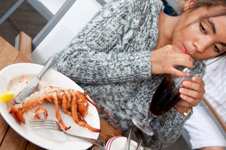 She was mad at me that day - not even lobster could make her smile.