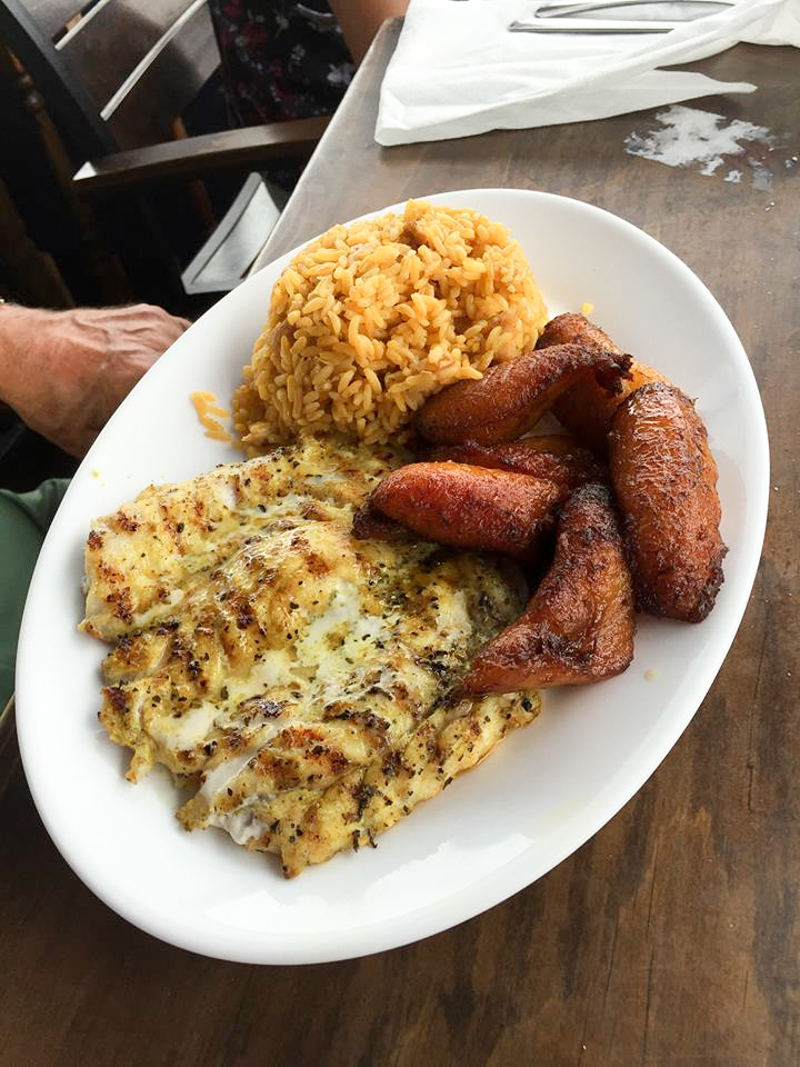 Grilled Fish with Yellow Rice and Fried Plaintains