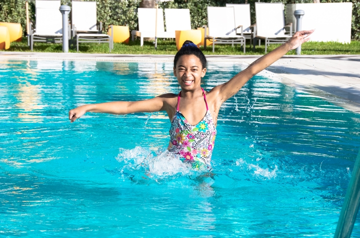 happy in the pool