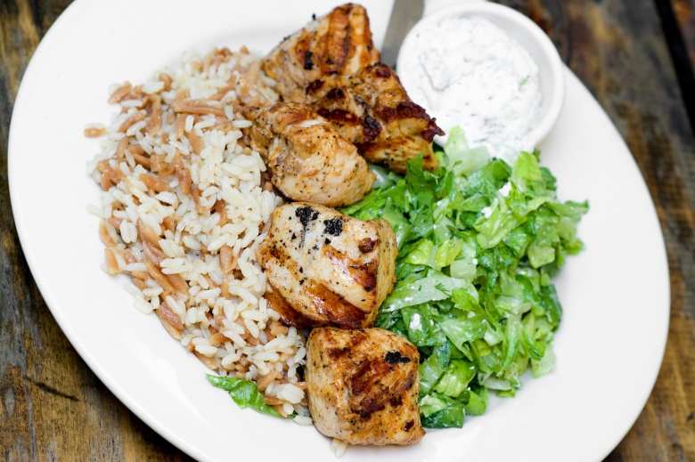 Chicken Kebab With Orzo Pilaf & Maroulosalata