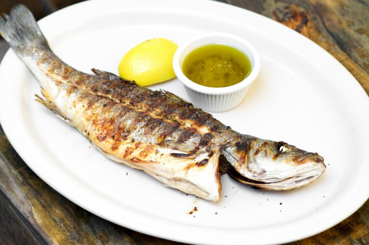 Fresh Whole Grilled Sea Bass With Olive Oil, Lemon And Oregano