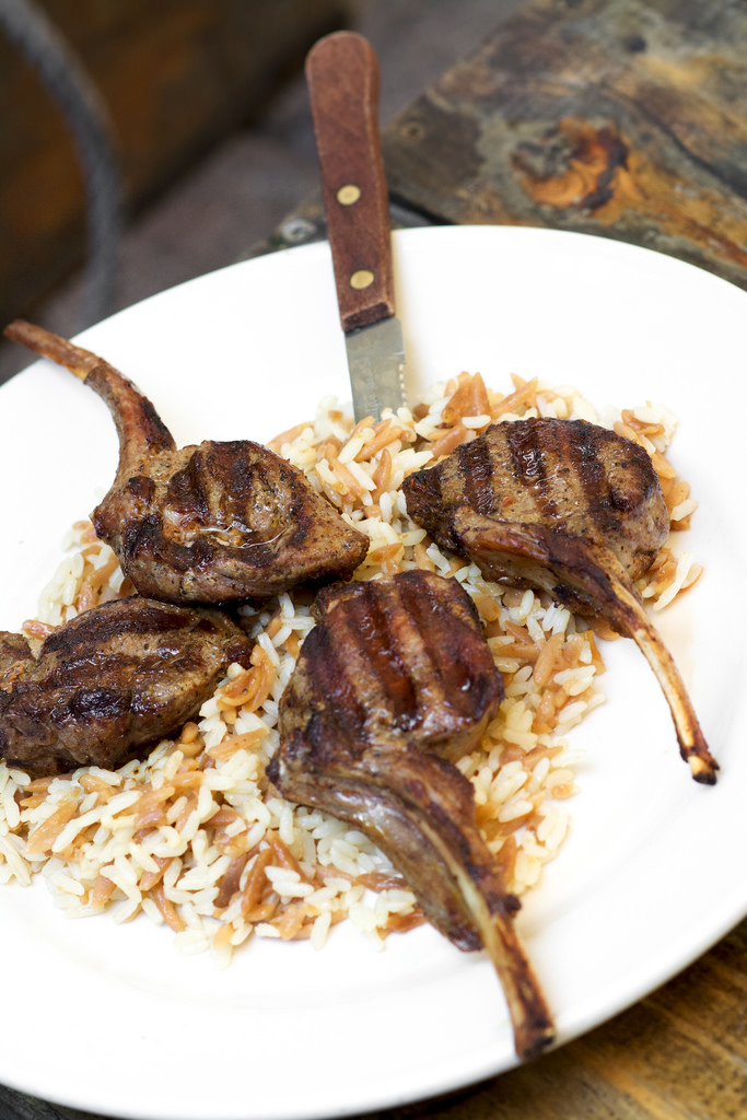 Grilled Lamb Chops Over Orzo Pilaf