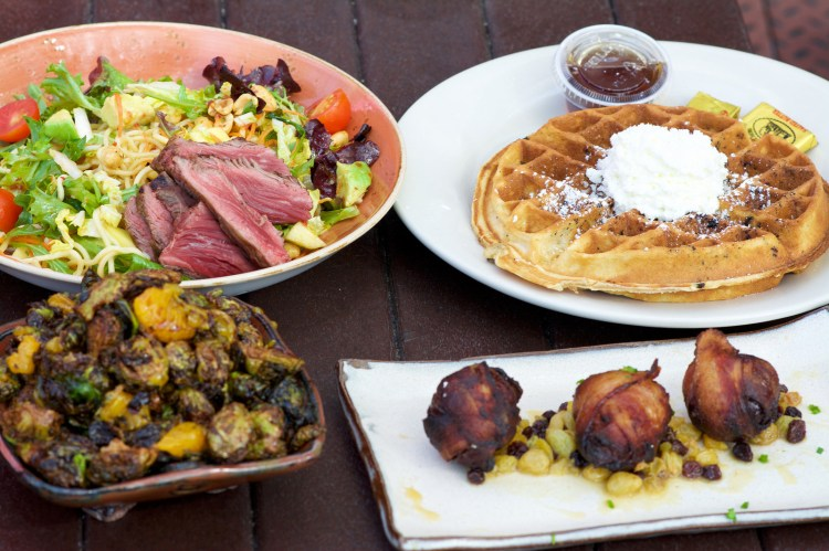Asian Steal Salad, Oreo Waffles, Brussels Sprouts , Roasted Dates.