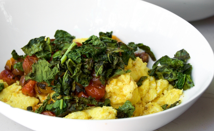 Blistered Tomato, Baby Kale and Egg Scramble