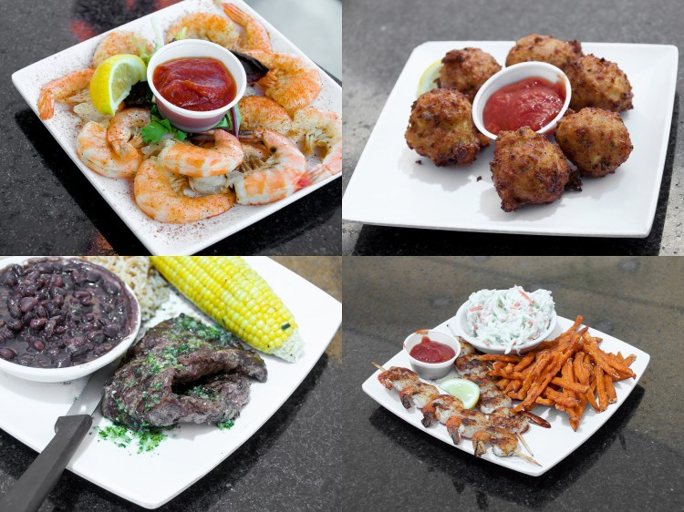 From left to right: Peel & Eat Shrimp, Conch Fritters, Churrasco with Chimichurri, Grilled Shrimp with Sweet Potato Fries