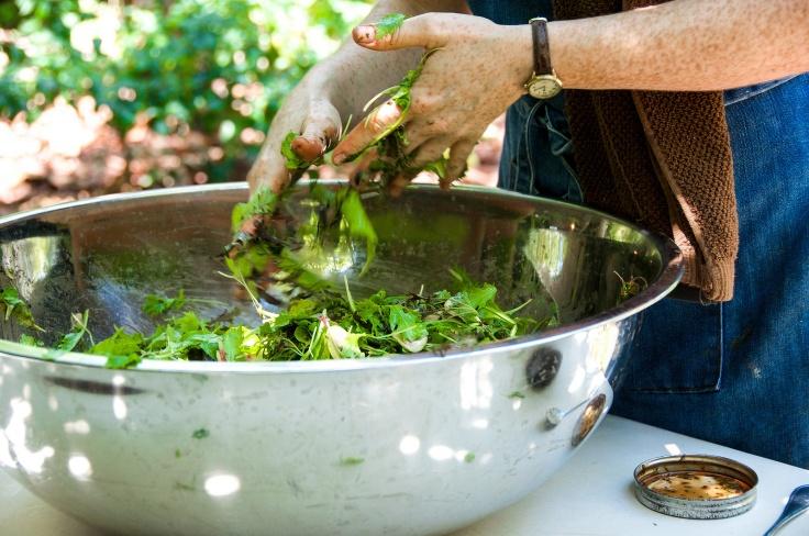 Preparing the salad