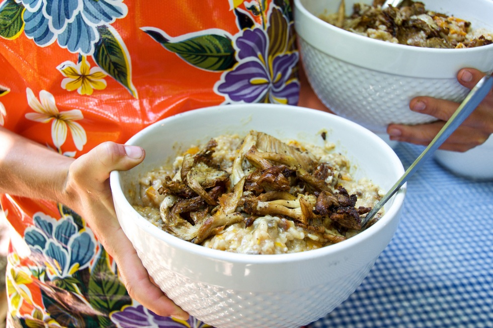 Risotto with Oyster Mushrooms, Fennel and Fresh Pesto
