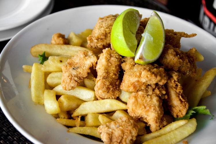Chicharrón De Pollo - a fancy name for chicken nuggets served with french fries