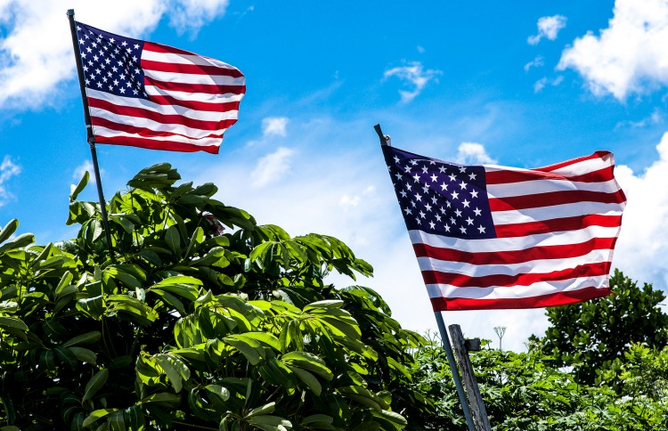 U.S. flags swaying in the breeze