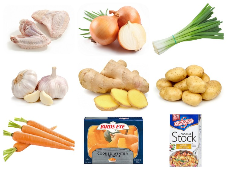Some of the ingredients for the soup. You can use any brands.